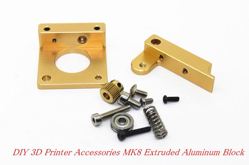 3D printer accessories MK8 extruder aluminum block DIY kit Makerbot dedicated single nozzle extrusion head aluminum