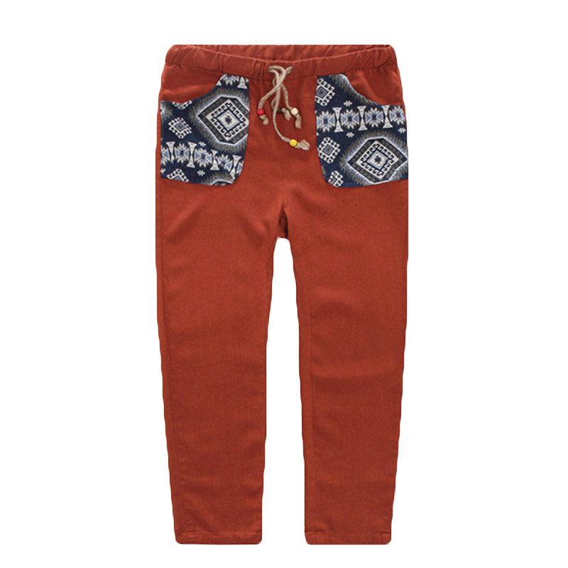 Men Cotton Linen Pants Japanese Stylish Trousers Ethnic Print Pattern Bottoms Ankle Length Designer Work Wear(China (Mainland))