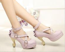Strappy Lolita Shoes Strange Heel Pumps 2016 New Fashion Ladies Ankle Buckle Bow Embellished High Heel Shoes Free Shipping