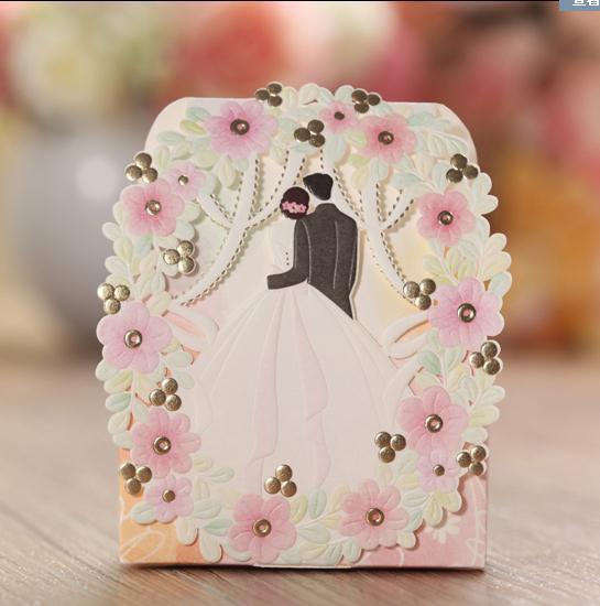Wedding Candy Flower Floral Mariage Korean Elegant Romantic Decoration Laser Cut Sweet Party 50pcs Paper Gift Favors Box(China (Mainland))