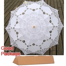 Buy New Lace Umbrella Cotton Embroidery White/Ivory Battenburg Lace Parasol Umbrella Wedding Umbrella Decorations Free for $16.53 in AliExpress store