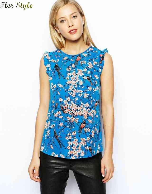 Free Shipping to 007 Oriental breath of spring print shirt women sleeveless vest 1426038926(China (Mainland))