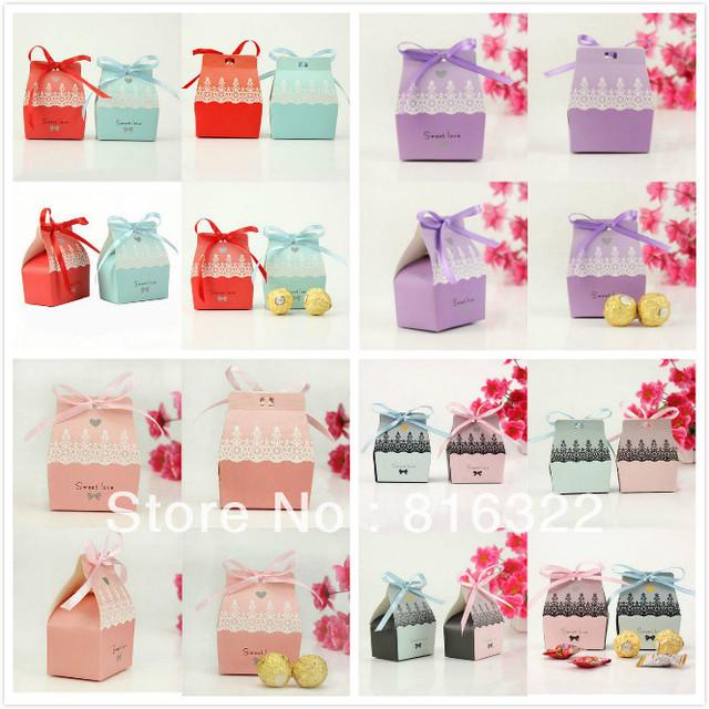100pcs/lot Elegant Wedding Favor DIY Paper Gift Jewelry Candy Box