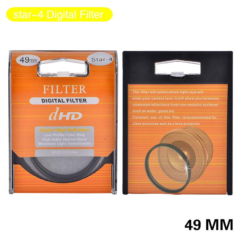 High Quality 49mm Star 4 6 8 Digital Filter Lens Protector For Canon Nikon DSLR SLR Camera(China (Mainland))