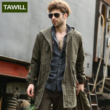 TAWILL casual outdoor Hooded Long Trench men Military Coats Autumn Fall Brand Clothing 2016 New Arrival 2B301(China (Mainland))