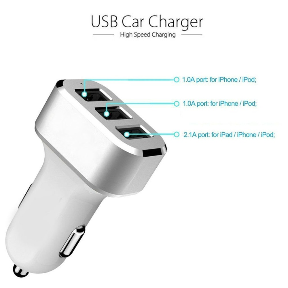 High Quality Mini Portable 3 port USB Car Charger AC adapter for iphone 5 6 for samsung s4 s5 s6 mobile phone tablet(China (Mainland))
