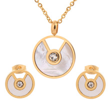 Wedding Bridal Dress Accessories Crystal Jewelry Sets For Women Shell Necklace Earrings Set Gold Plated Holiday Party(China (Mainland))