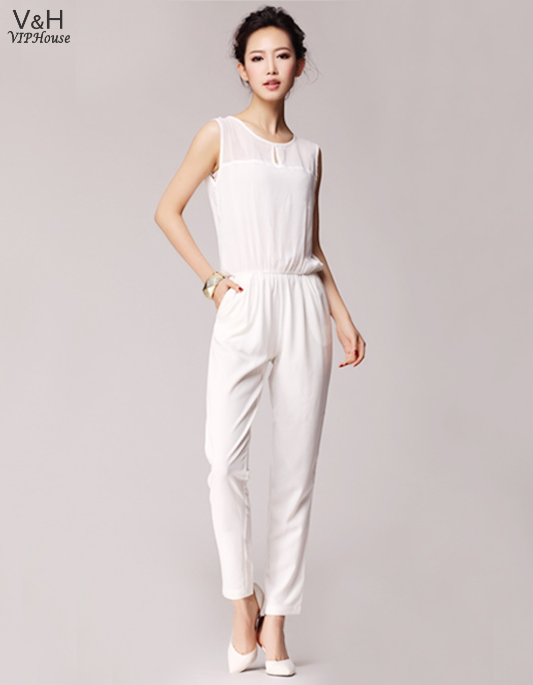 Lowe Price Fashion Woman Jumpsuit Sexy White Rompers Open ...