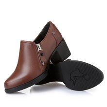 Kadın ayakkabı su geçirmez hakiki deri yüksek topuklu kadın single ayakkabı yüksek kalite moda bayanlar rahat ayakkabılar botları(China)
