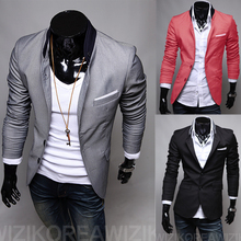 Casual Slim Stylish fit One Button Suit men Blazer Coat Jackets men garment(China (Mainland))