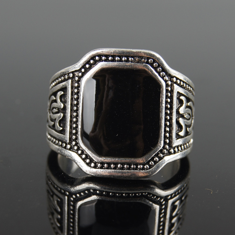 Size 7-10 New Classic Men Rings 925 Sterling Silver Ring Vintage Jewelry Big Black Enamal Punk Rock Simple Ring Wholesale(China (Mainland))