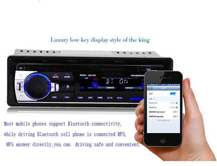 Bluetooth Car Stereo Audio FM Radio MP3 Audio Player 1 DIN In Dash FM Aux Input
