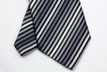 NT0033 Gray White Stripe Smooth Jacquard Woven Classic Type Silk Polyester Man s Business Wedding Luxury