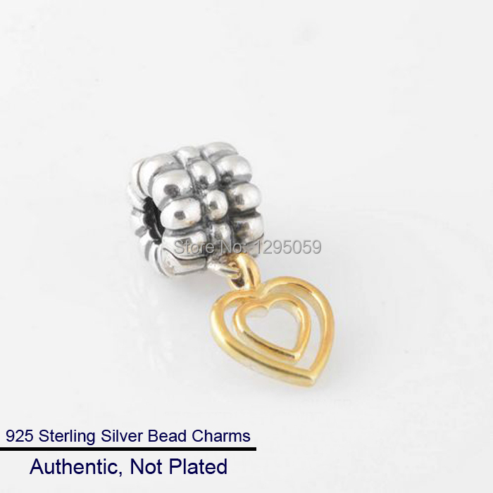 Charms DIY Fits for Pandora Bracelet 100% 925 Sterling Silver Golden Heart Beads Fashion Jewelry Wholesales Free Shipping(China (Mainland))