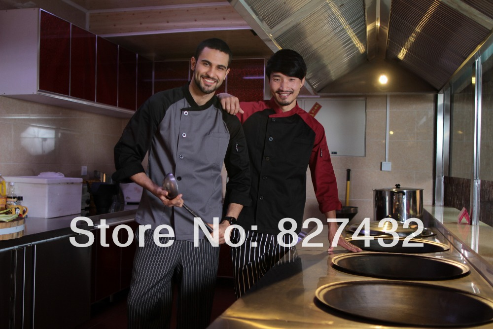 2014 Spring New Design Long Sleeve Chef Jacket Cook Coat - Green Founder Inc store