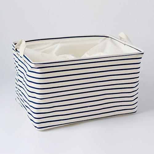3 Sizes Blue Striped Cotton Storage Box Free Shipping(China (Mainland))