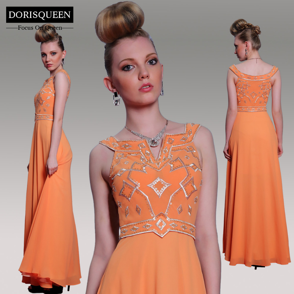 DORISQUEEN 30998 Embroidery V-neck Long embroidery Floor Length A-line Orange Women Prom Dress 2015 - OFFICIAL FEATURE BRAND STORE store