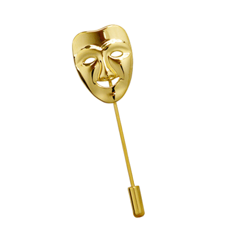 Fashion Men Drama Gold Smile Face Mask Brooch Men Business Party Suit Lapel Tie Pin Clip Hat Collar Brooch Jewelry Supplies(China (Mainland))