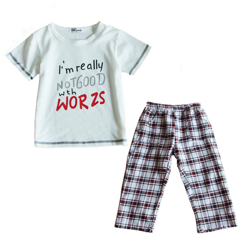 Free shipping children boys summer clothes girls boutique clothing sets White letters short sleeve shirt + plaid pants 2 PC suit(China (Mainland))
