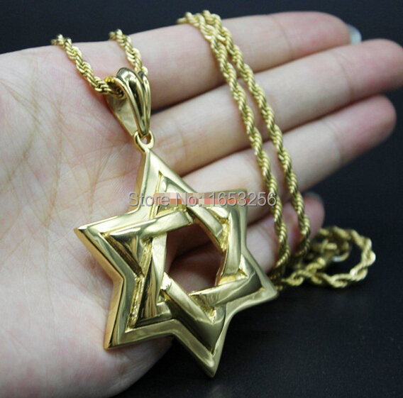 Gold High Quality Men Biker Jewish STAR OF DAVID Pendant Necklace Stainless Steel With 22'' Rope Chain Cool Large Jewelry(China (Mainland))