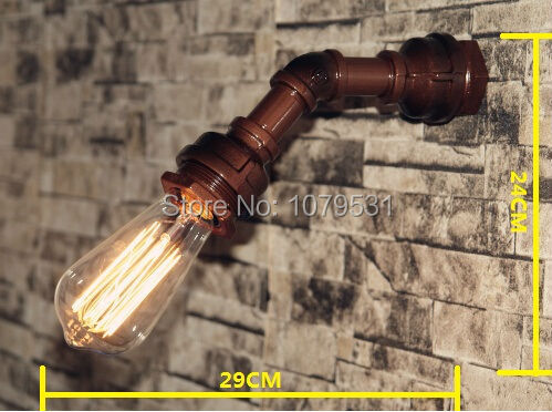 Loft Aisle Industrial Pipe Single Head Wall Lamp,Bar Restaurant wall mounted lights RH Iron Retro wall sconce lighting(China (Mainland))