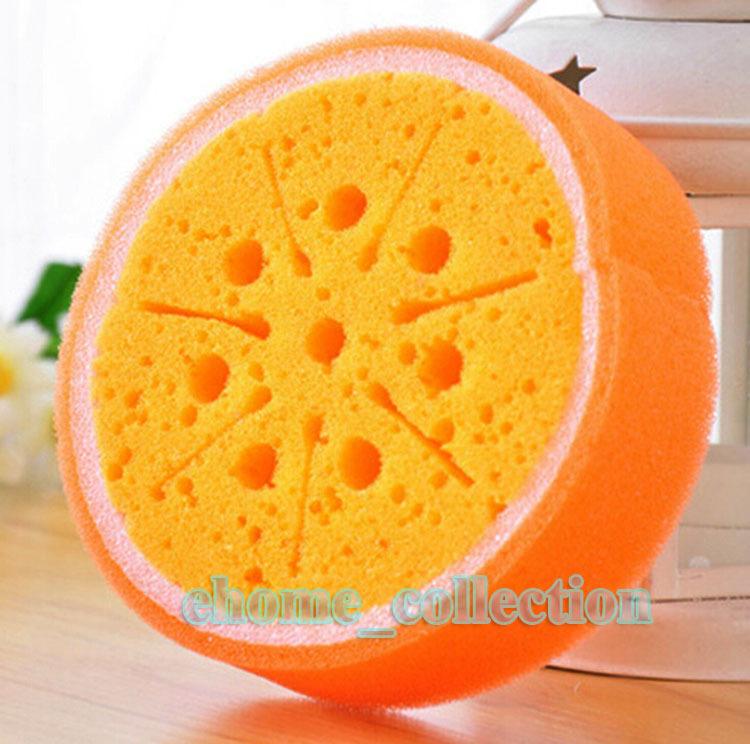 1PCS Easy Using Cute Fruit Orang Style Kitchen Dish Bowl Cleaning Washing Scouring accessories Pad Bibulous Sponge Scourer(China (Mainland))