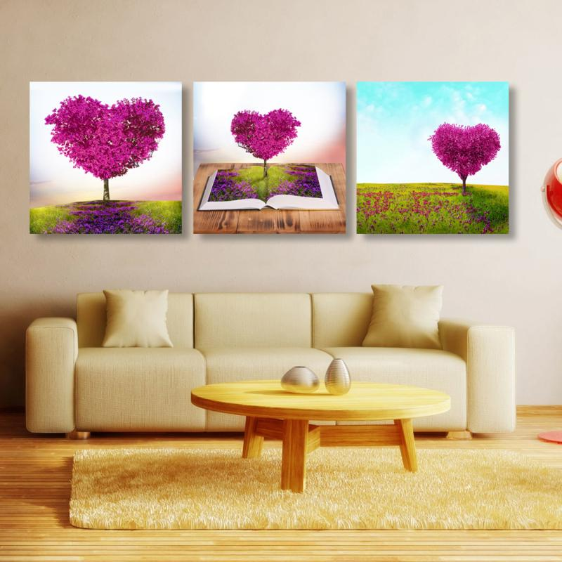 3 Pcs (No Frame) loving heart Flowers Wall Art Picture Modern Home ...