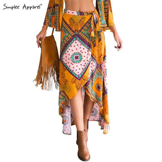 Simplee Apparel Boho print bow asymmetrical Женщины skirt Длинный Summer Стиль beach ...