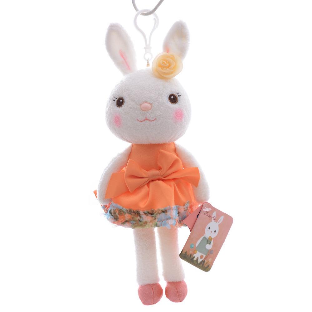 Брелок - Кролик из натурального меха оранжевый