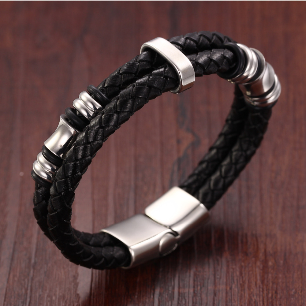 Affordable 2pcs Men S Braided Magnetic Clasp Leather Bracelet
