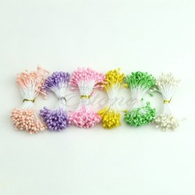 Free Shipping Flower Artificial Double Heads Stamen Pearlized Craft Cards Cakes Decor Floral(China (Mainland))