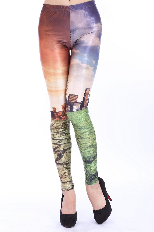 New 2014 Cheap Wholesale Fashion Women Buildings Leggings Costume Leggins Digital Print Pirate Pants Hot Sale(China (Mainland))