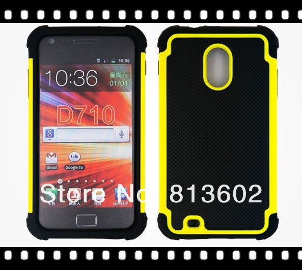 PC+Silicon 3 in 1 Hybrid Armor Hard Case Cover for Samsung Galaxy S II Epic 4G Touch D710 Via Free DHL(China (Mainland))
