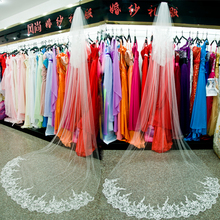 New arrival 2016 slender elegant lace double layer 4 meters ultra long white bride wedding accessories veil(China (Mainland))