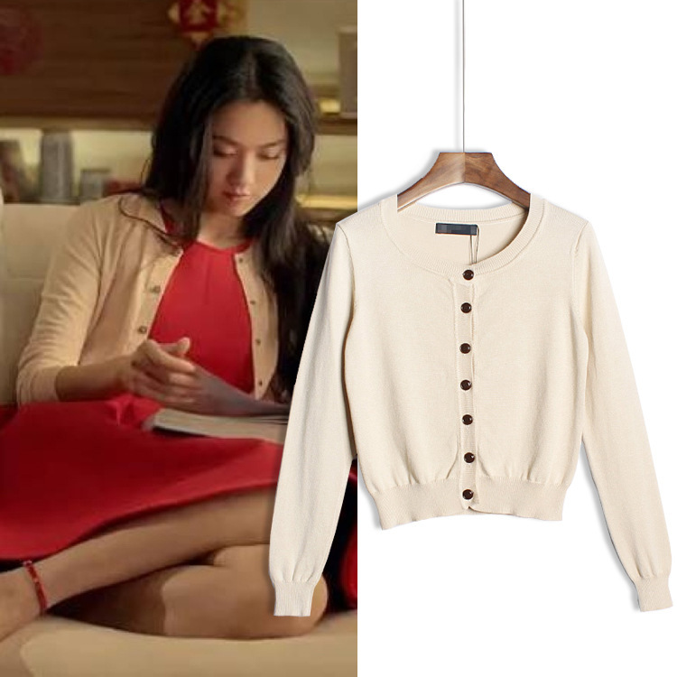 Free shipping 2015 Korean version of the round neck loose thin knit cardigan jacket(China (Mainland))
