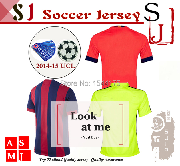 New 2014 Champions League Jersey 14 15 home AWAY Champions League soccer jersey(China (Mainland))