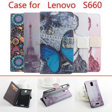 Painted Fashion Lenovo S660 case cover, Good Quality Luxury Leather Case+ hard Back cover For Lenovo S 660 cellphone With wallet