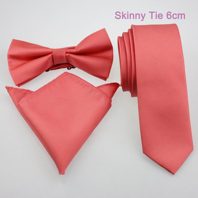 Yibei Coachella связи обычный персик кораллово-розовым сплошной цвет тощая Tie официально ...