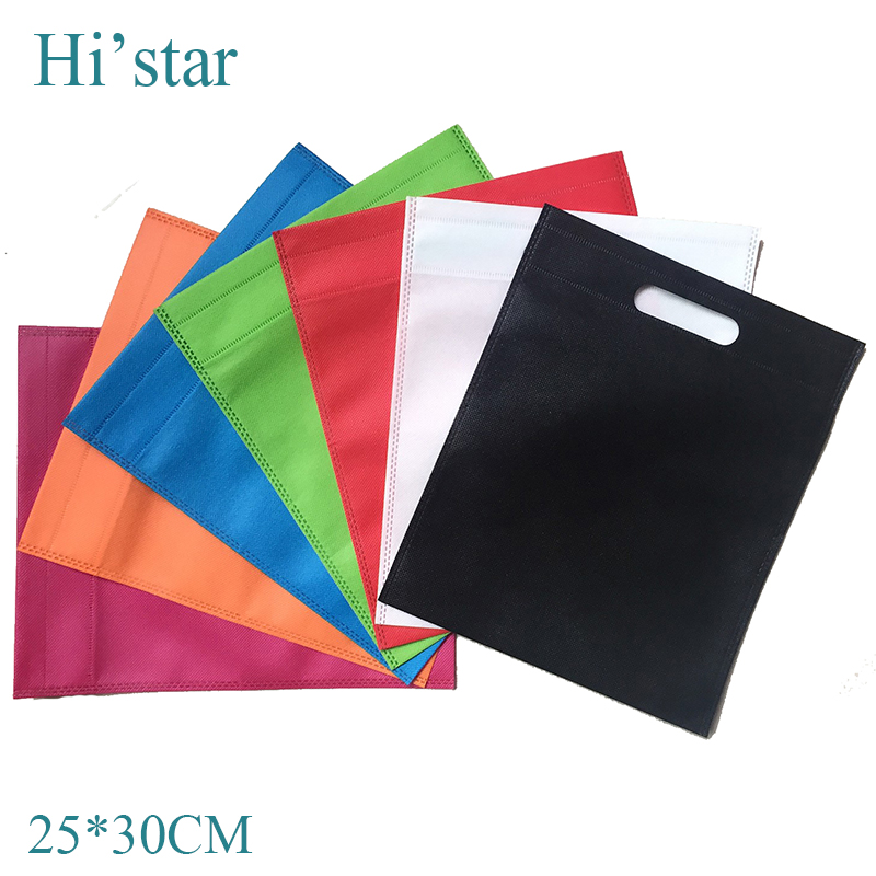 25*30cm 20 pieces/lot small plain without logo printing cheap non woven shopping bag(China (Mainland))
