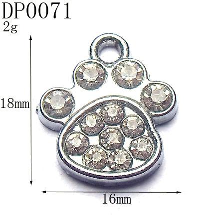 18mm Kid's Fashion Rhinestone Silver Tone Alloy Dog Foot Charms,DIY Pets Collar Charms,Free Shipping Wholesale 50pcs/lot