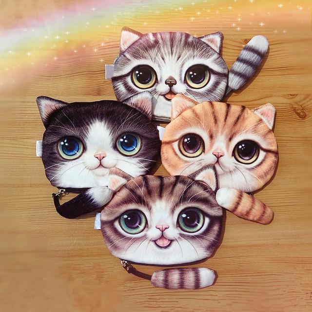 Новый небольшой хвост кот портмоне милые дети мультфильм каваи сумка монет чехол ...
