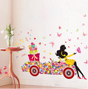 Modern Fashion Girl Floral Car Pattern Wall Sticker Home Decor Mural Butterfly Stikers Glass Showcase DIY Wall Stickers QT086(China (Mainland))