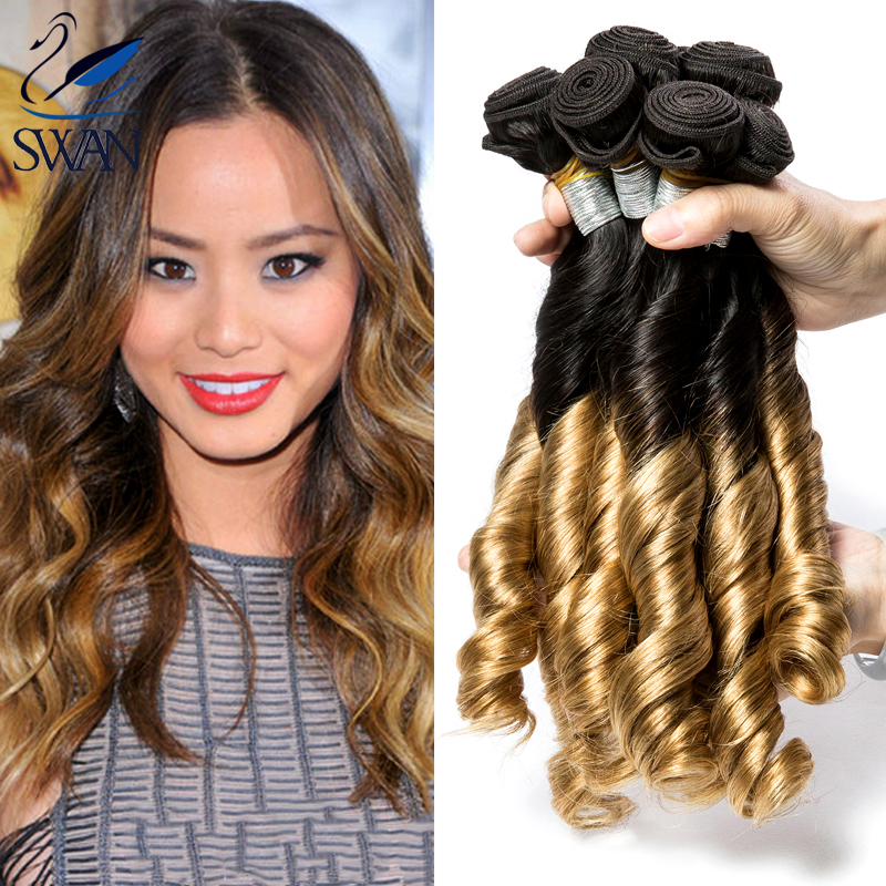 Hot Selling 9A Two Tone Colored Virgin Ombre 4pcs Brazilian Spiral Curl Weave Bundle Brazilian Ombre Brown Virgin Hair Curl Hair(China (Mainland))