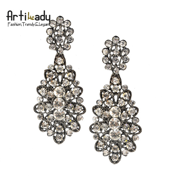 Artilady vintage full crystal drop earrings  fashion 2013 winter design statement women earring jewelry free shipping