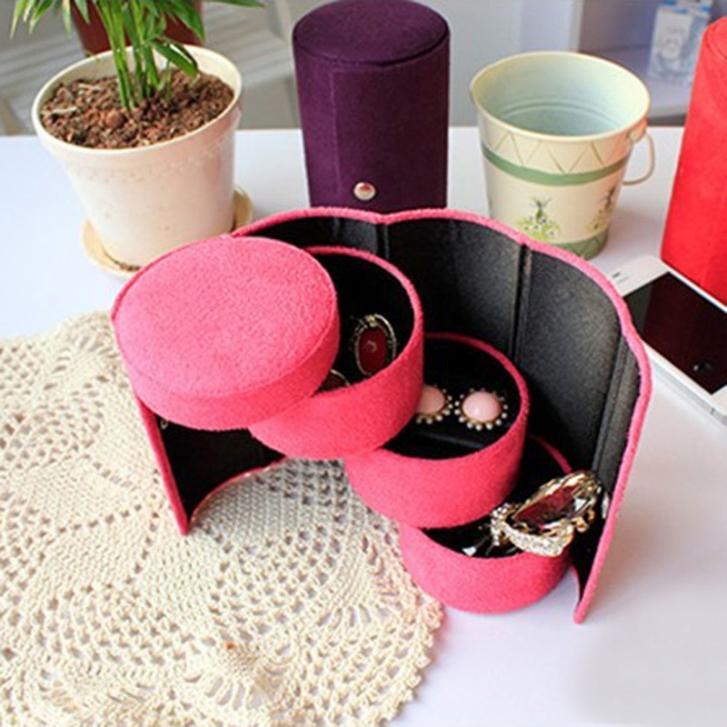 New Attractive Jewelry Box Flannel Three-Tier Round Portable Multi-Function Jewelry Box Jewelry Storage(China (Mainland))