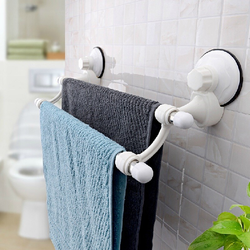Stainless Steel 60CM Suction Cup Wall Mounted Bathroom Towel Rail Holder Storage Racks 2 Bars Solid Brass Holder Bathroom Parts(China (Mainland))