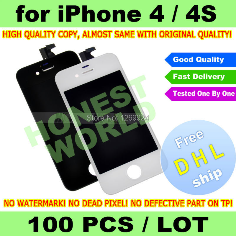 FREE DHL X 100 PCS LOT BLACK White High Quality LCD Display Touch Screen Digitizer For iPhone 4 4G 4S Replacement NO DEAD PIXEL(China (Mainland))