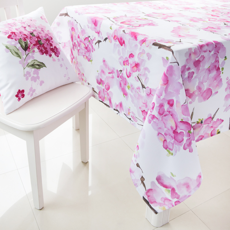 Pink Floral Tablecloth Polyester Table Covers for Weddings Pastoral Rectangle Table Cloth Wedding Free Shipping(China (Mainland))