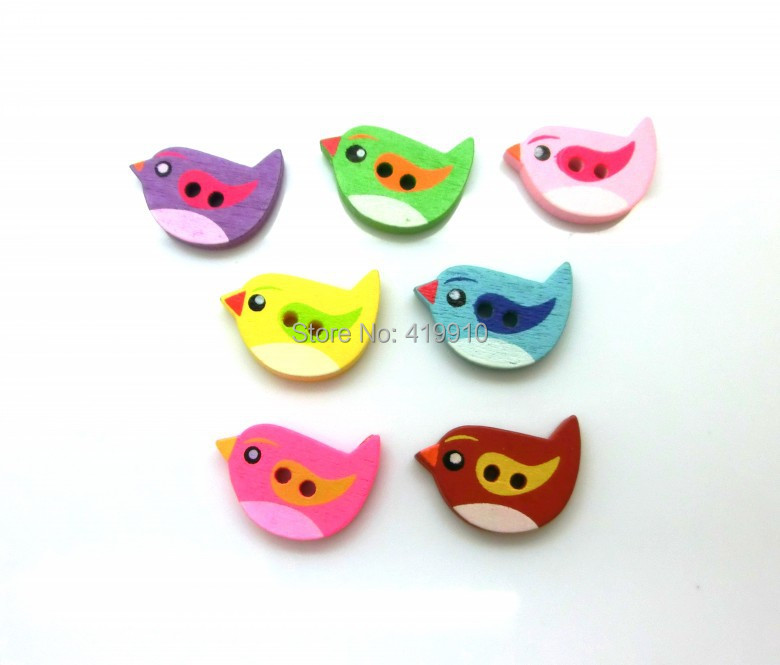 -100PcsRandom Mixed Wood Sewing Buttons 2 Holes Birds Pattern Scrapbooking 22mmx17.5mm J1582 - Lovely store