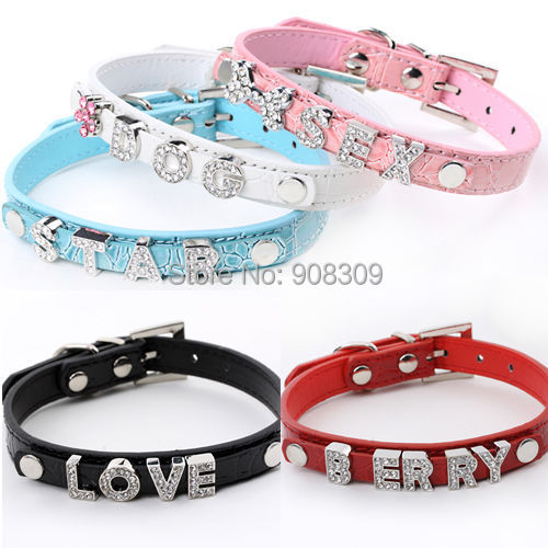 PU Leather Dog Cat Collars with Bling DIY Personalized Name & charm 6 Colors Pet Puppy Necklace Size XS,S,M,L(China (Mainland))